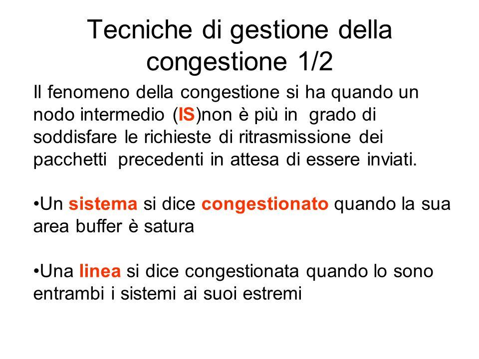 Tecniche di gestione della congestione 1/2 Il fenomeno della congestione si ha quando un nodo intermedio (IS)non è più in grado di soddisfare le richi
