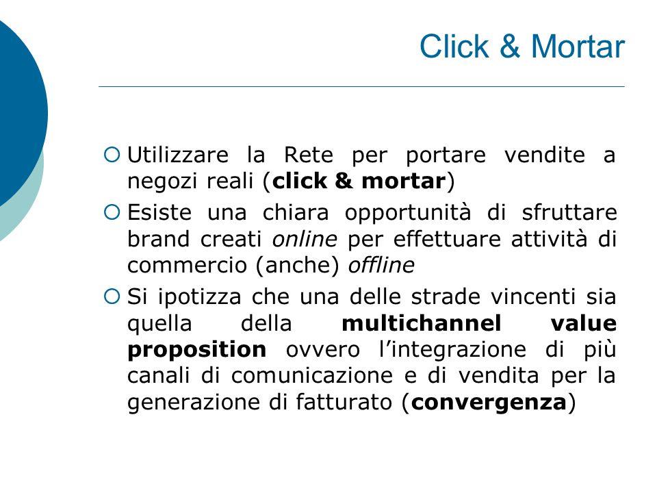 Click & Mortar  Utilizzare la Rete per portare vendite a negozi reali (click & mortar)  Esiste una chiara opportunità di sfruttare brand creati onli