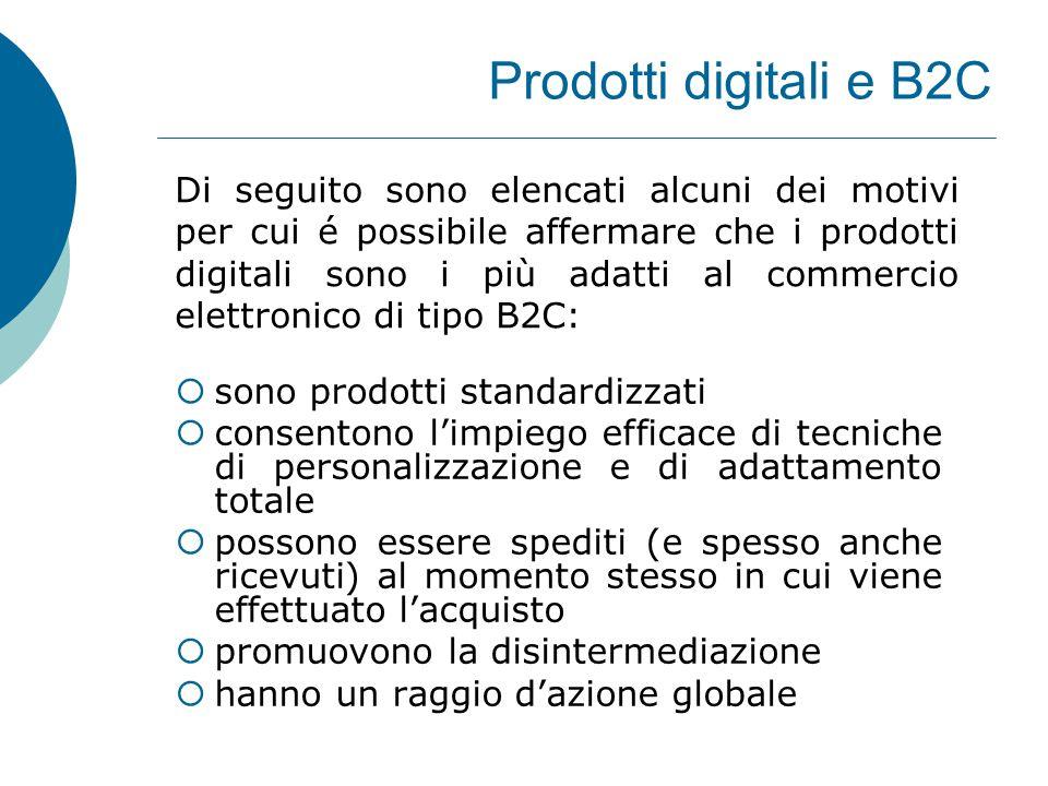 Prodotti digitali e B2C  sono prodotti standardizzati  consentono l'impiego efficace di tecniche di personalizzazione e di adattamento totale  poss