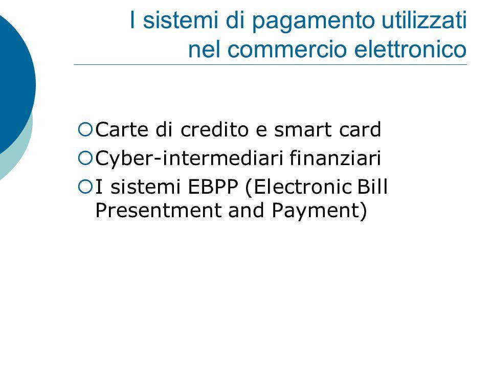 I sistemi di pagamento utilizzati nel commercio elettronico  Carte di credito e smart card  Cyber-intermediari finanziari  I sistemi EBPP (Electron