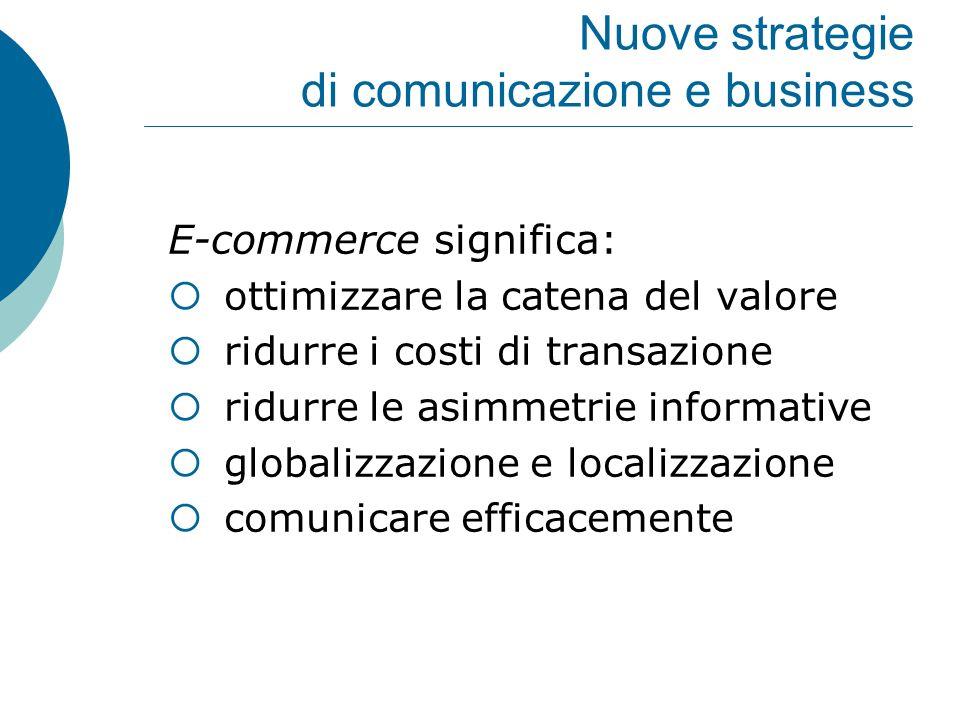 Nuove strategie di comunicazione e business E-commerce significa:  ottimizzare la catena del valore  ridurre i costi di transazione  ridurre le asi
