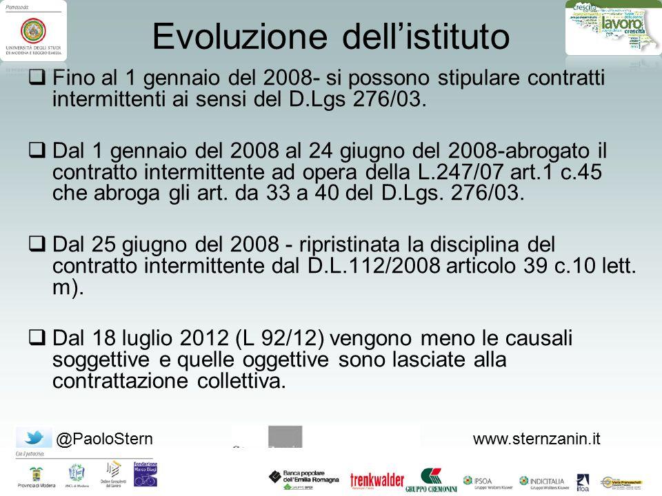@PaoloSternwww.sternzanin.it Evoluzione dell'istituto  Fino al 1 gennaio del 2008- si possono stipulare contratti intermittenti ai sensi del D.Lgs 27