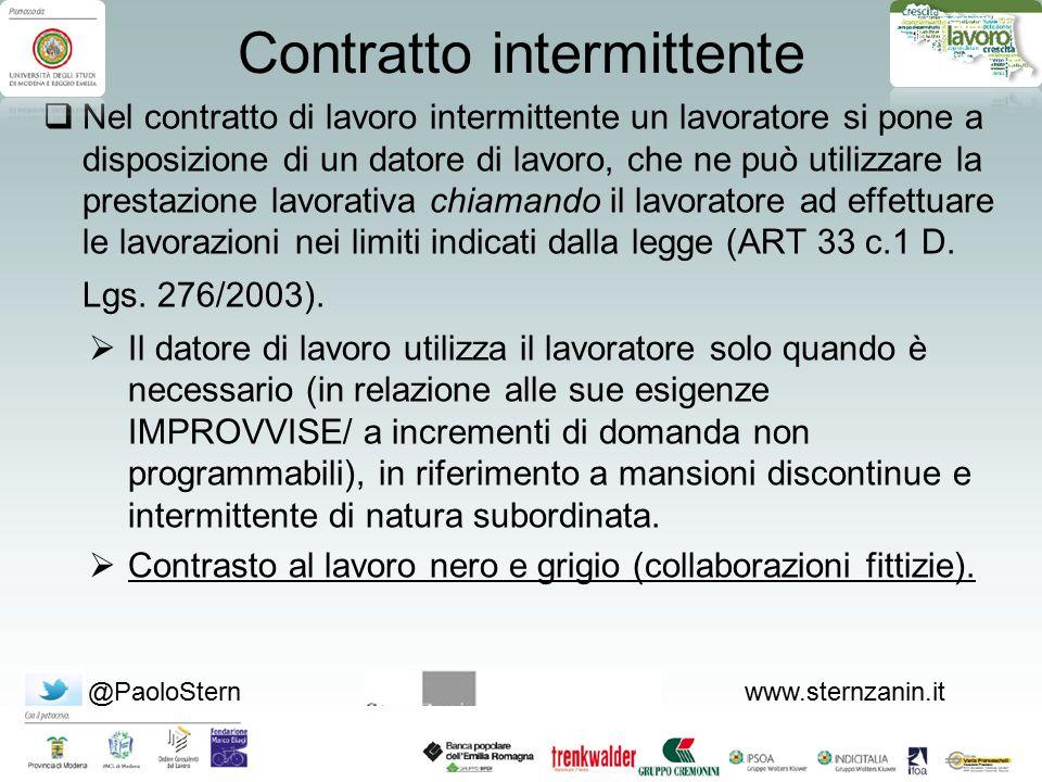 @PaoloSternwww.sternzanin.it Il contratto intermittente  Può essere stipulato a tempo indeterminato o a tempo determinato, ai sensi dell'art.