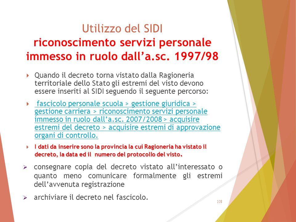 Utilizzo del SIDI riconoscimento servizi personale immesso in ruolo dall'a.sc. 1997/98  Quando il decreto torna vistato dalla Ragioneria territoriale