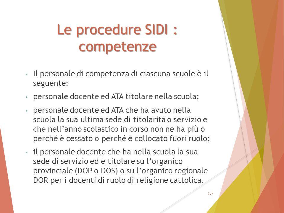 Le procedure SIDI : competenze Il personale di competenza di ciascuna scuole è il seguente: personale docente ed ATA titolare nella scuola; personale