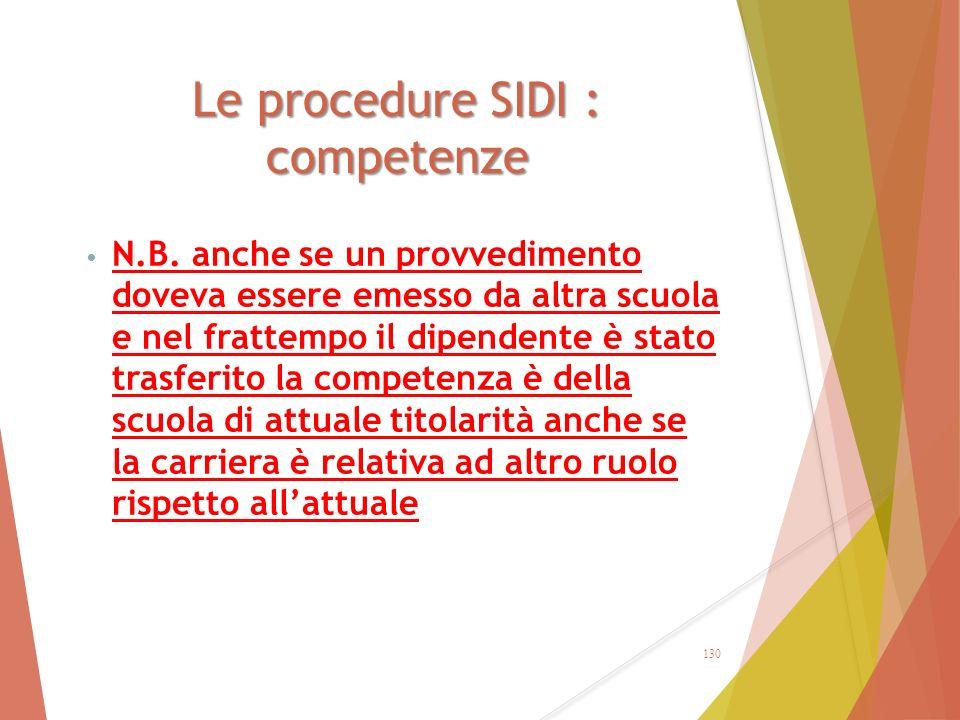 Le procedure SIDI : competenze N.B. anche se un provvedimento doveva essere emesso da altra scuola e nel frattempo il dipendente è stato trasferito la