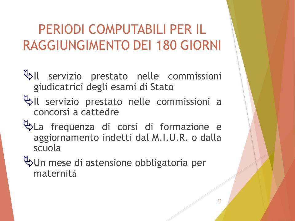 PERIODI COMPUTABILI PER IL RAGGIUNGIMENTO DEI 180 GIORNI  Il servizio prestato nelle commissioni giudicatrici degli esami di Stato  Il servizio pres