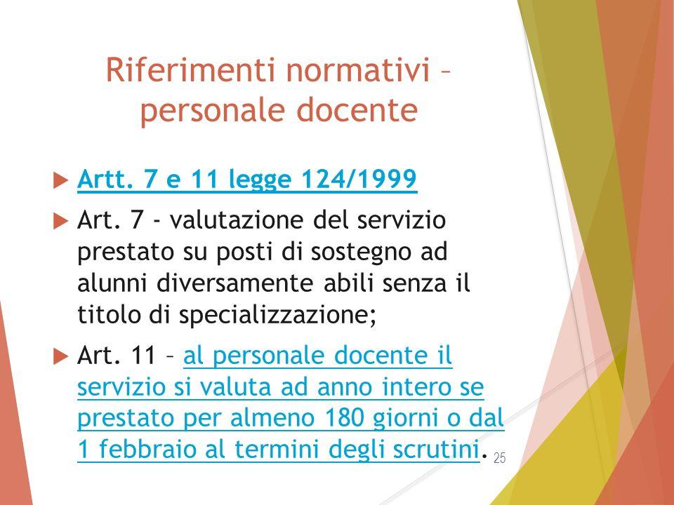 Riferimenti normativi – personale docente  Artt. 7 e 11 legge 124/1999 Artt. 7 e 11 legge 124/1999  Art. 7 - valutazione del servizio prestato su po