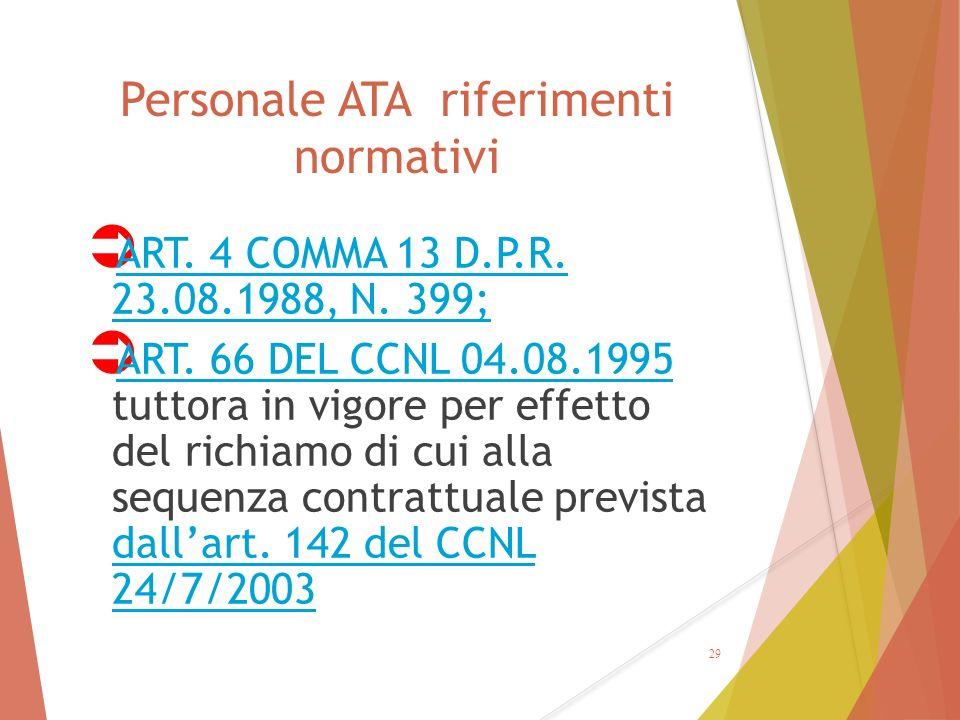 Personale ATA riferimenti normativi  ART. 4 COMMA 13 D.P.R. 23.08.1988, N. 399; ART. 4 COMMA 13 D.P.R. 23.08.1988, N. 399;  ART. 66 DEL CCNL 04.08.1