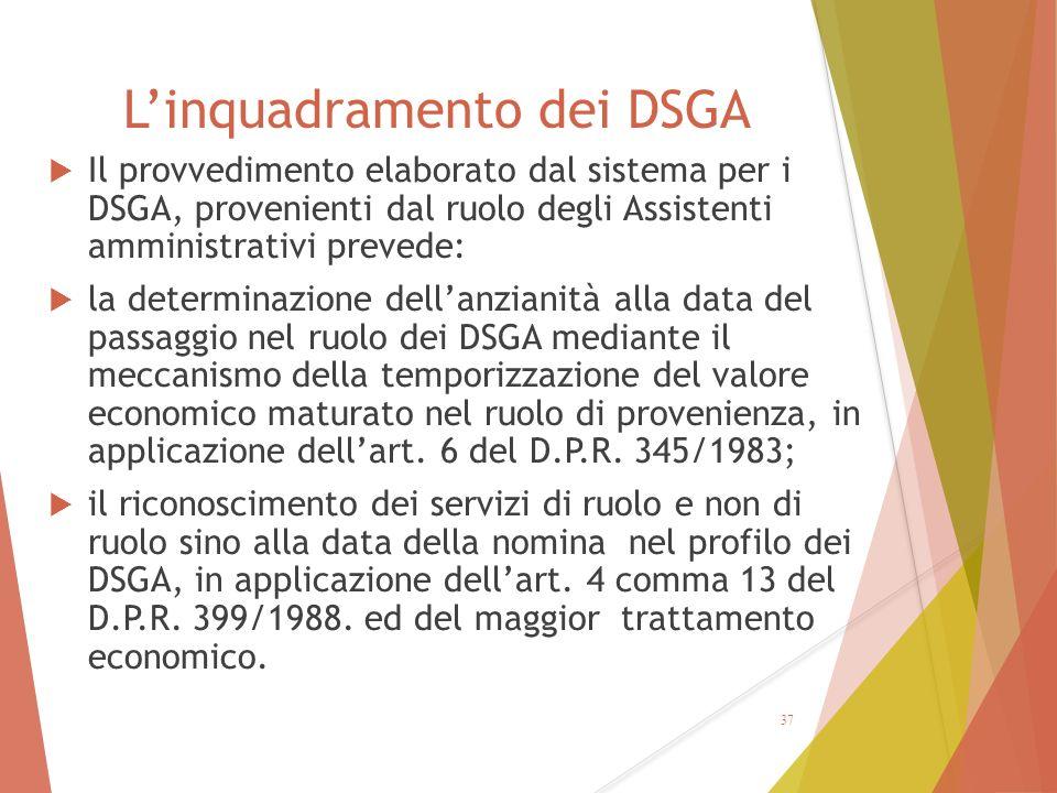 L'inquadramento dei DSGA  Il provvedimento elaborato dal sistema per i DSGA, provenienti dal ruolo degli Assistenti amministrativi prevede:  la dete