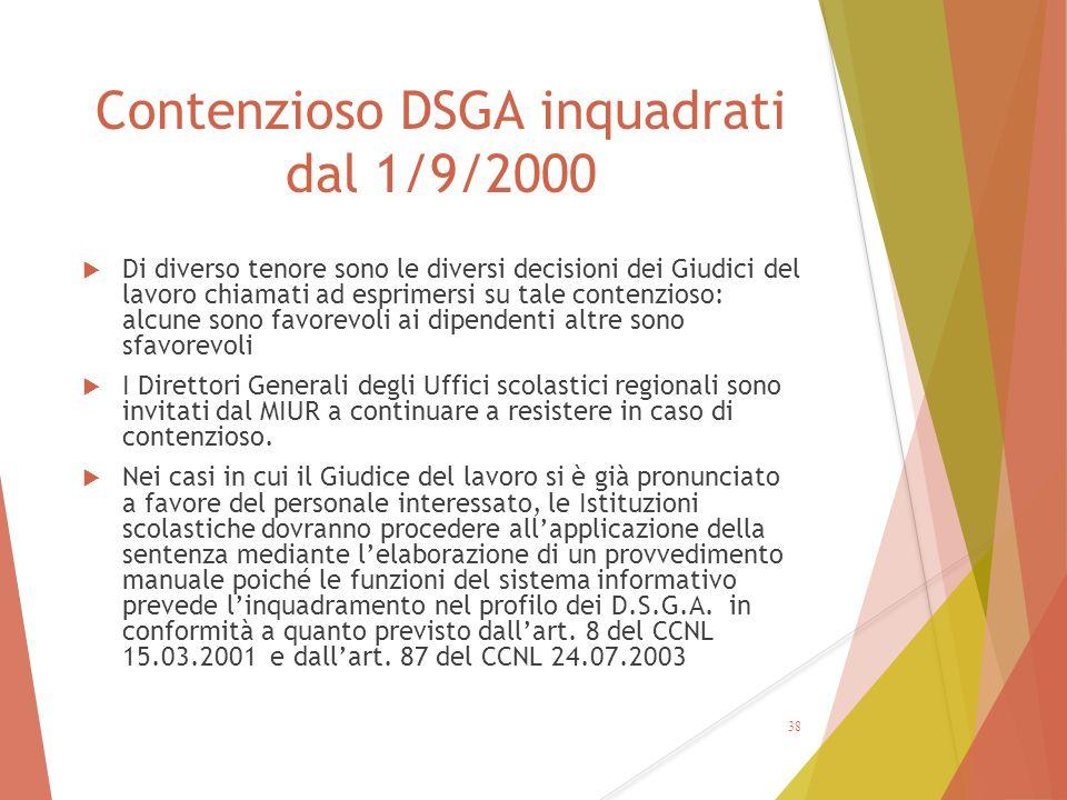 Contenzioso DSGA inquadrati dal 1/9/2000  Di diverso tenore sono le diversi decisioni dei Giudici del lavoro chiamati ad esprimersi su tale contenzio