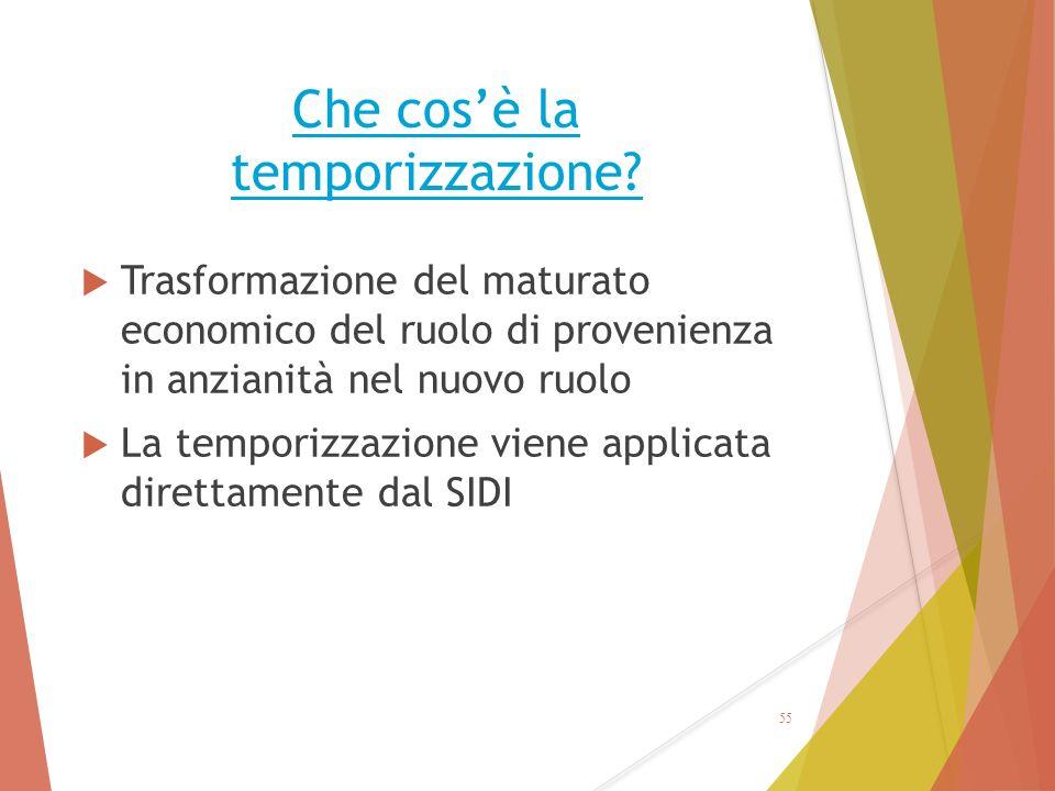 Che cos'è la temporizzazione?  Trasformazione del maturato economico del ruolo di provenienza in anzianità nel nuovo ruolo  La temporizzazione viene
