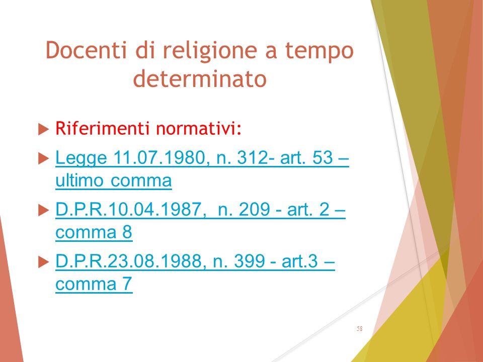 Docenti di religione a tempo determinato  Riferimenti normativi:  Legge 11.07.1980, n. 312- art. 53 – ultimo comma Legge 11.07.1980, n. 312- art. 53