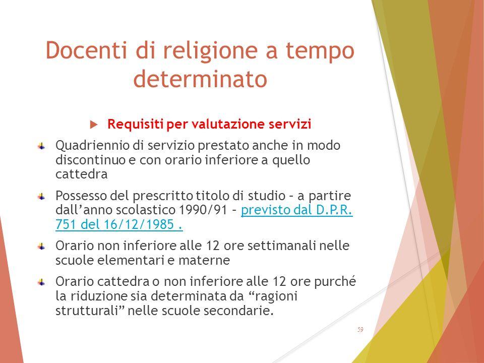 Docenti di religione a tempo determinato  Requisiti per valutazione servizi Quadriennio di servizio prestato anche in modo discontinuo e con orario i