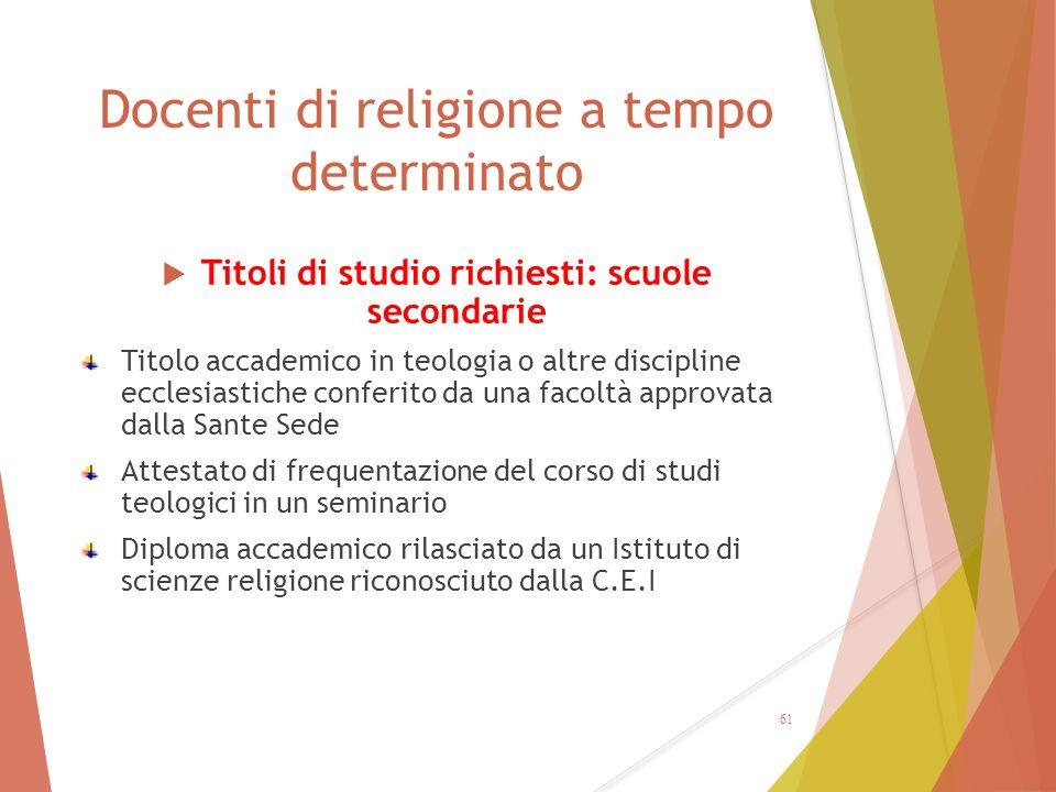 Docenti di religione a tempo determinato  Titoli di studio richiesti: scuole secondarie Titolo accademico in teologia o altre discipline ecclesiastic