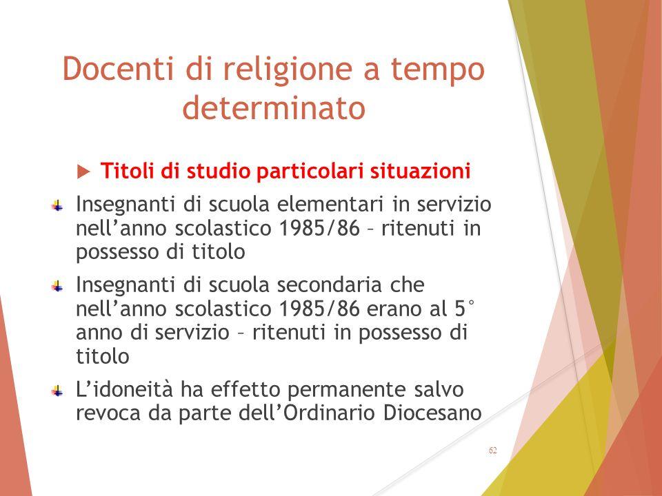 Docenti di religione a tempo determinato  Titoli di studio particolari situazioni Insegnanti di scuola elementari in servizio nell'anno scolastico 19