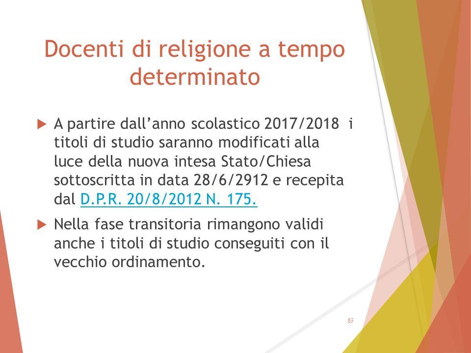 Docenti di religione a tempo determinato  A partire dall'anno scolastico 2017/2018 i titoli di studio saranno modificati alla luce della nuova intesa