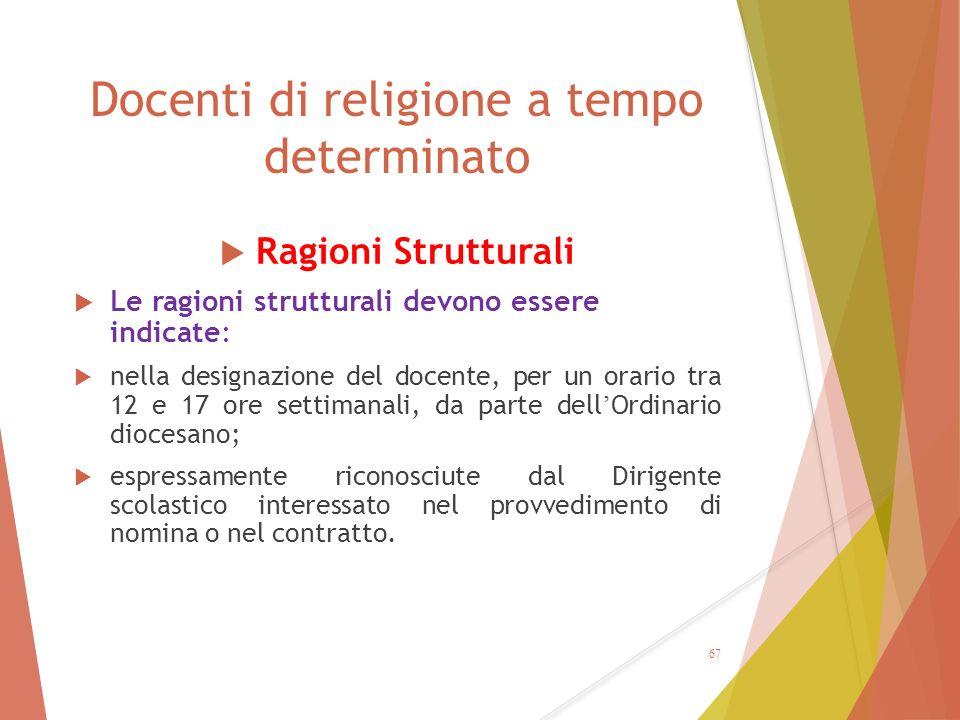 Docenti di religione a tempo determinato  Ragioni Strutturali  Le ragioni strutturali devono essere indicate:  nella designazione del docente, per