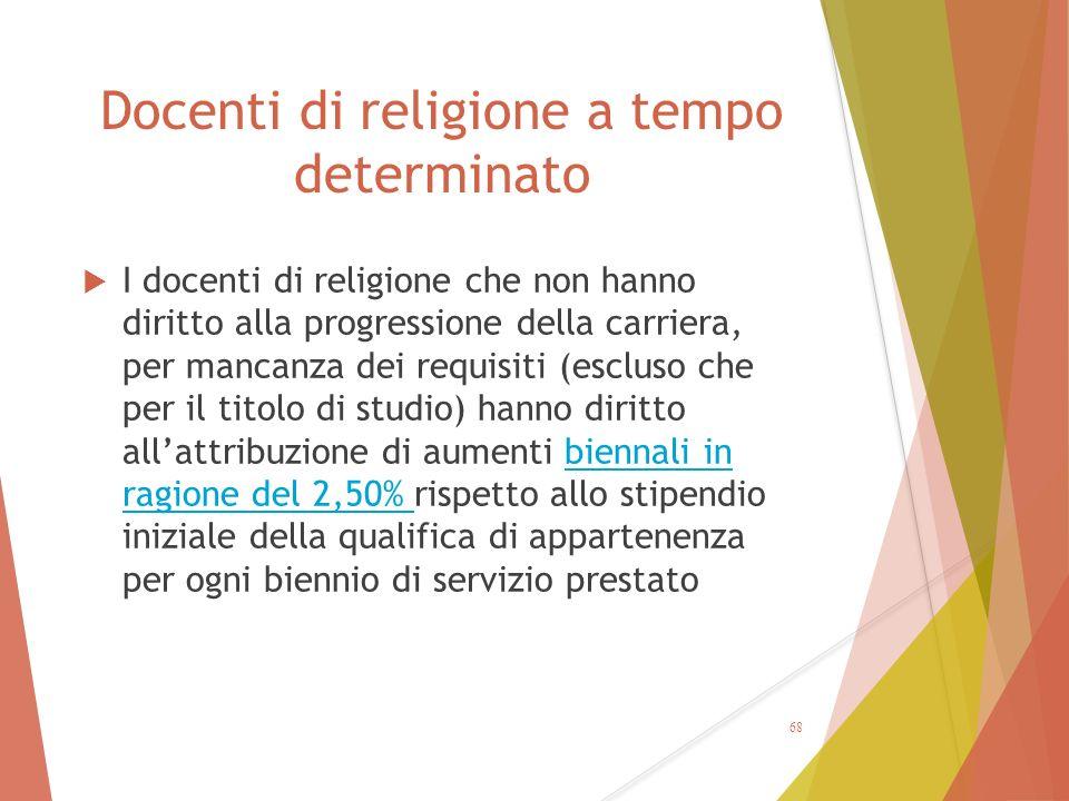 Docenti di religione a tempo determinato  I docenti di religione che non hanno diritto alla progressione della carriera, per mancanza dei requisiti (