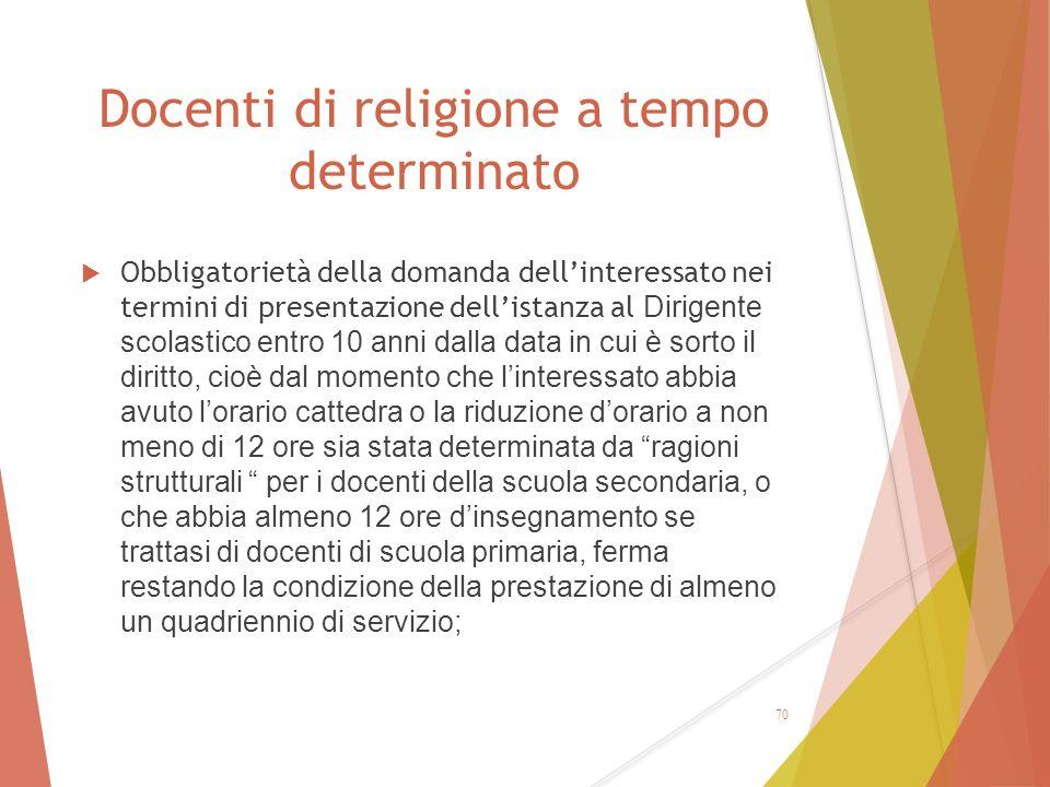 Docenti di religione a tempo determinato  Obbligatorietà della domanda dell'interessato nei termini di presentazione dell'istanza al Dirigente scolas
