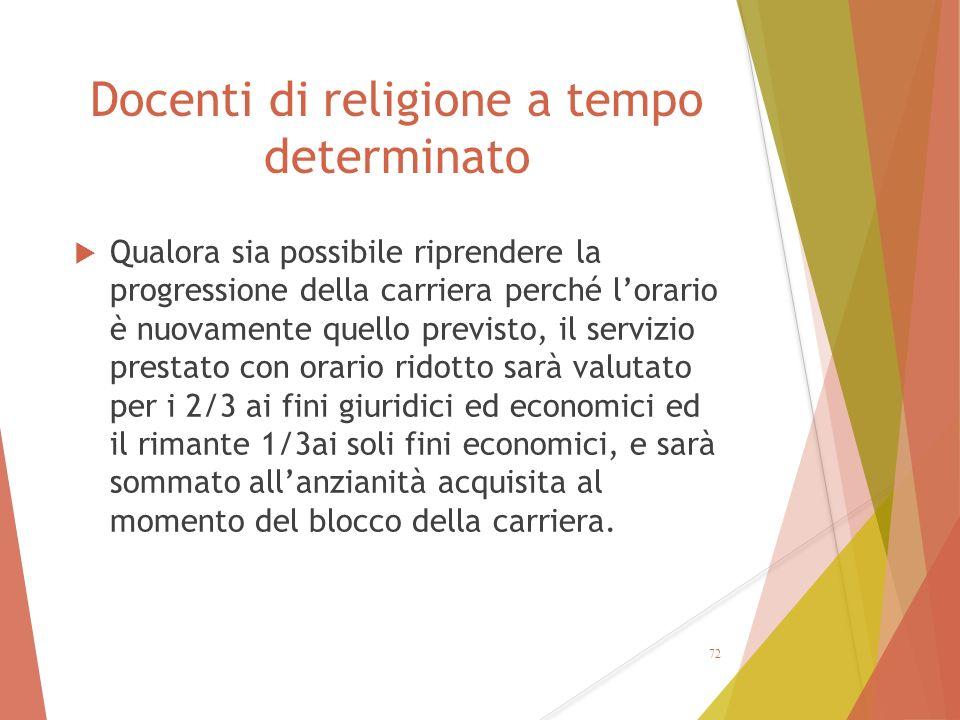 Docenti di religione a tempo determinato  Qualora sia possibile riprendere la progressione della carriera perché l'orario è nuovamente quello previst
