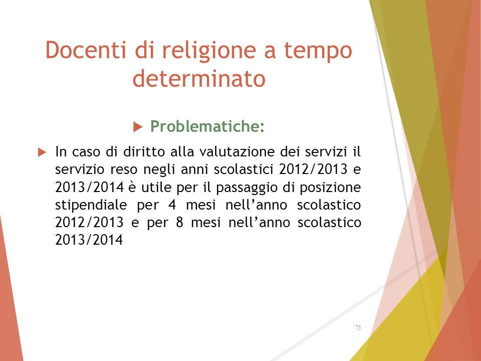 Docenti di religione a tempo determinato  Problematiche:  In caso di diritto alla valutazione dei servizi il servizio reso negli anni scolastici 201