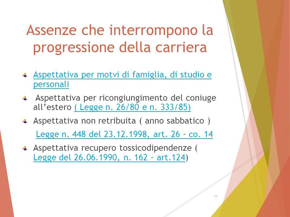 Assenze che interrompono la progressione della carriera Aspettativa per motvi di famiglia, di studio e personali Aspettativa per ricongiungimento del