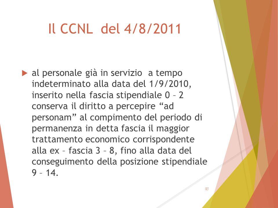 Il CCNL del 4/8/2011  al personale già in servizio a tempo indeterminato alla data del 1/9/2010, inserito nella fascia stipendiale 0 – 2 conserva il