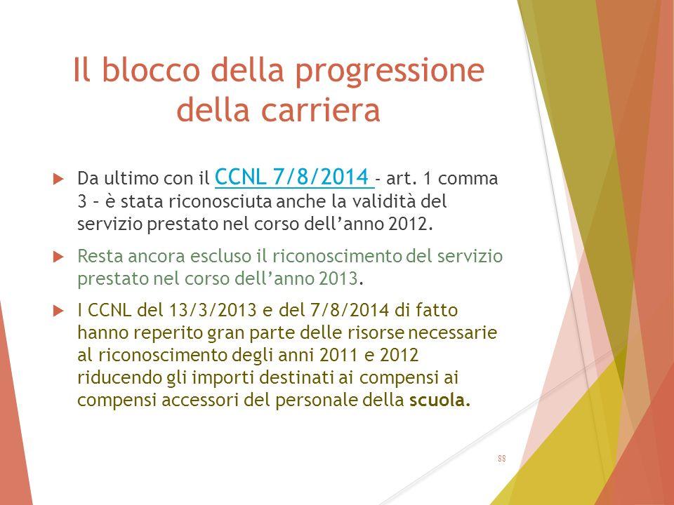 Il blocco della progressione della carriera  Da ultimo con il CCNL 7/8/2014 – art. 1 comma 3 – è stata riconosciuta anche la validità del servizio pr