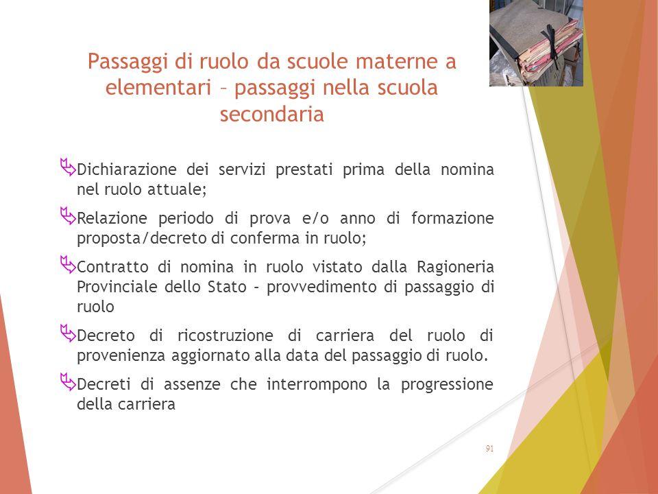 Passaggi di ruolo da scuole materne a elementari – passaggi nella scuola secondaria  Dichiarazione dei servizi prestati prima della nomina nel ruolo