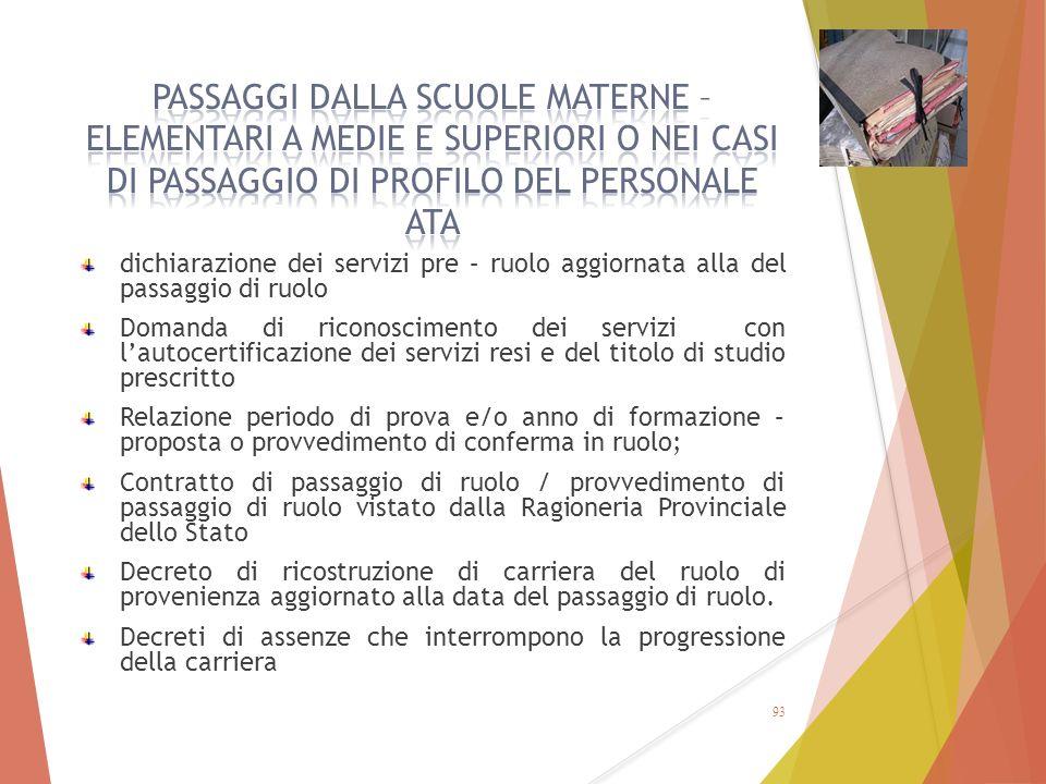 dichiarazione dei servizi pre – ruolo aggiornata alla del passaggio di ruolo Domanda di riconoscimento dei servizi con l'autocertificazione dei serviz