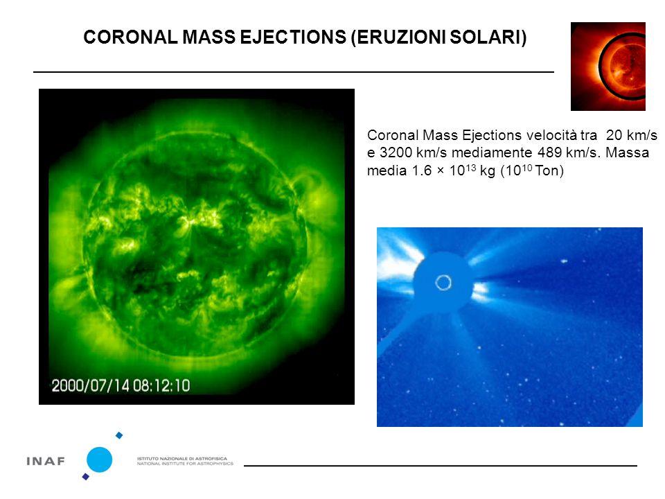 Coronal Mass Ejections velocità tra 20 km/s e 3200 km/s mediamente 489 km/s.