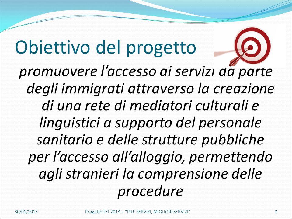 Obiettivo del progetto promuovere l'accesso ai servizi da parte degli immigrati attraverso la creazione di una rete di mediatori culturali e linguistici a supporto del personale sanitario e delle strutture pubbliche per l'accesso all'alloggio, permettendo agli stranieri la comprensione delle procedure 30/01/2015Progetto FEI 2013 – PIU' SERVIZI, MIGLIORI SERVIZI 3