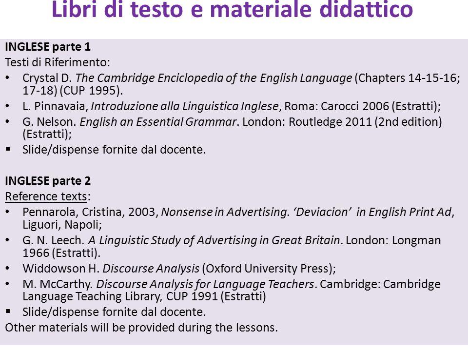 Libri di testo e materiale didattico INGLESE parte 1 Testi di Riferimento: Crystal D. The Cambridge Enciclopedia of the English Language (Chapters 14-