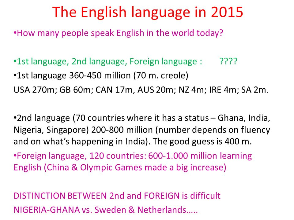 The English language in 2015 How many people speak English in the world today? 1st language, 2nd language, Foreign language :???? 1st language 360-450