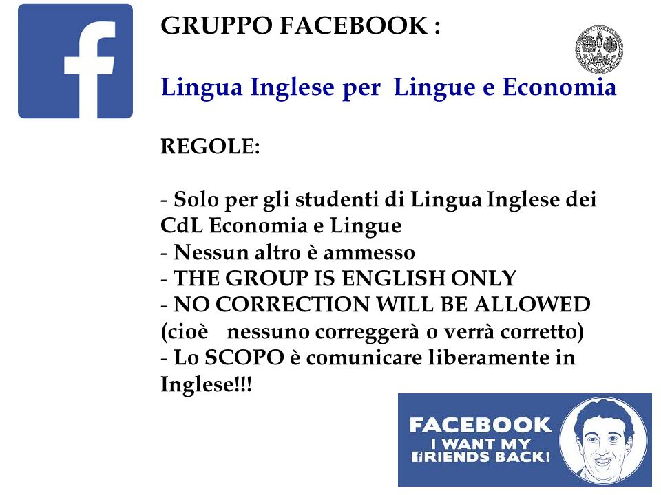 3 NOVEMBER (mark the date!) - Gli studenti di Cagliari che desiderano partecipare alla giornata verranno divisi in 4-5 gruppi.