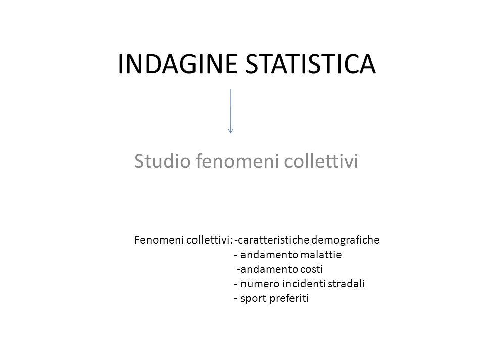 INDAGINE STATISTICA Studio fenomeni collettivi Fenomeni collettivi: -caratteristiche demografiche - andamento malattie -andamento costi - numero incid