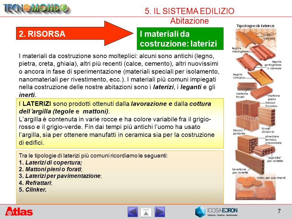 7 5. IL SISTEMA EDILIZIO Abitazione I materiali da costruzione: laterizi 2. RISORSA I materiali da costruzione sono molteplici: alcuni sono antichi (l