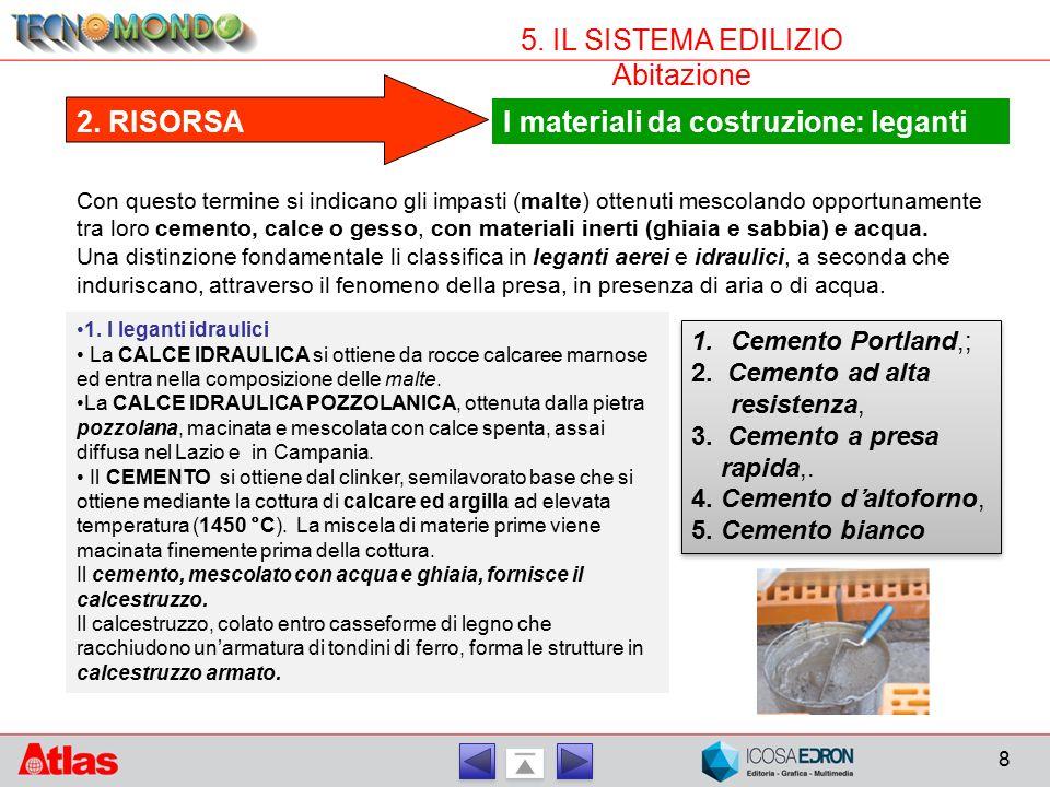 8 5. IL SISTEMA EDILIZIO Abitazione I materiali da costruzione: leganti 2. RISORSA Con questo termine si indicano gli impasti (malte) ottenuti mescola