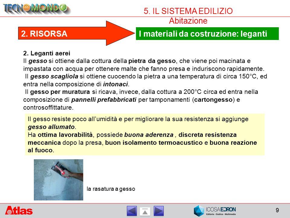9 5.IL SISTEMA EDILIZIO Abitazione I materiali da costruzione: leganti 2.