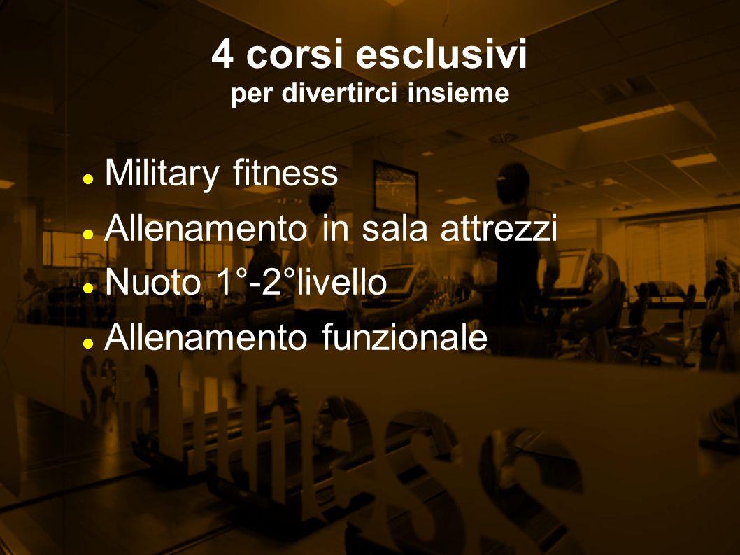 4 corsi esclusivi per divertirci insieme Military fitness Allenamento in sala attrezzi Nuoto 1°-2°livello Allenamento funzionale