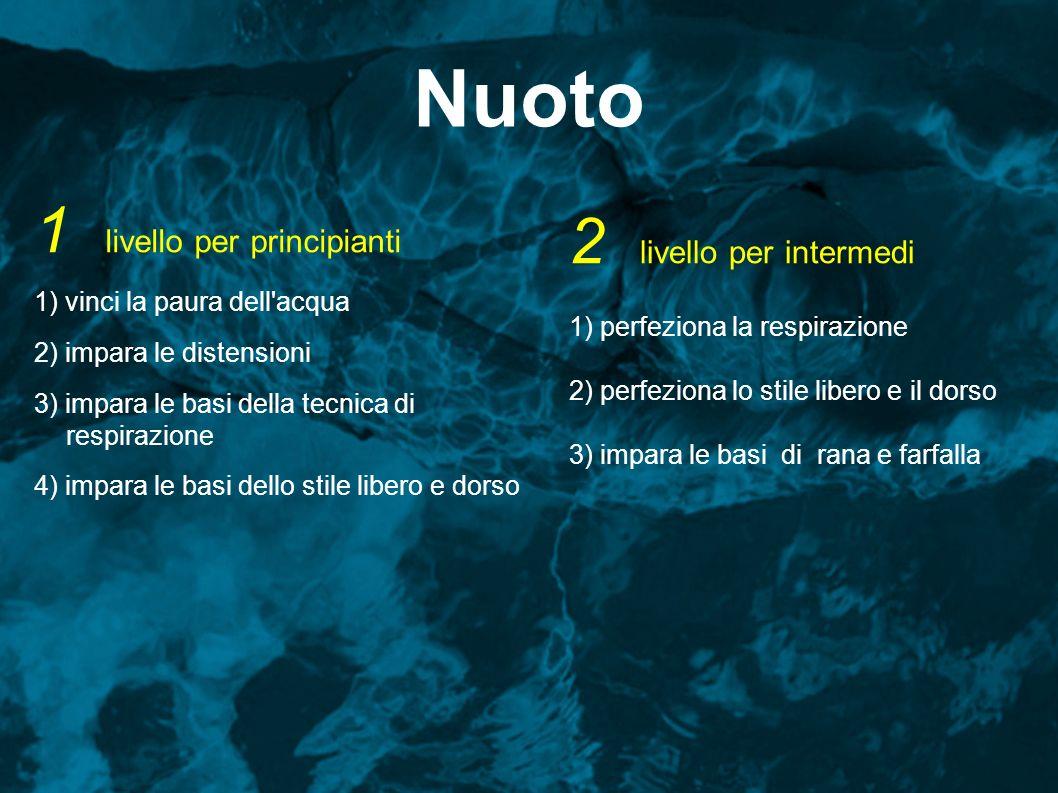 Nuoto 1 livello per principianti 1) vinci la paura dell'acqua 2) impara le distensioni 3) impara le basi della tecnica di respirazione 4) impara le ba