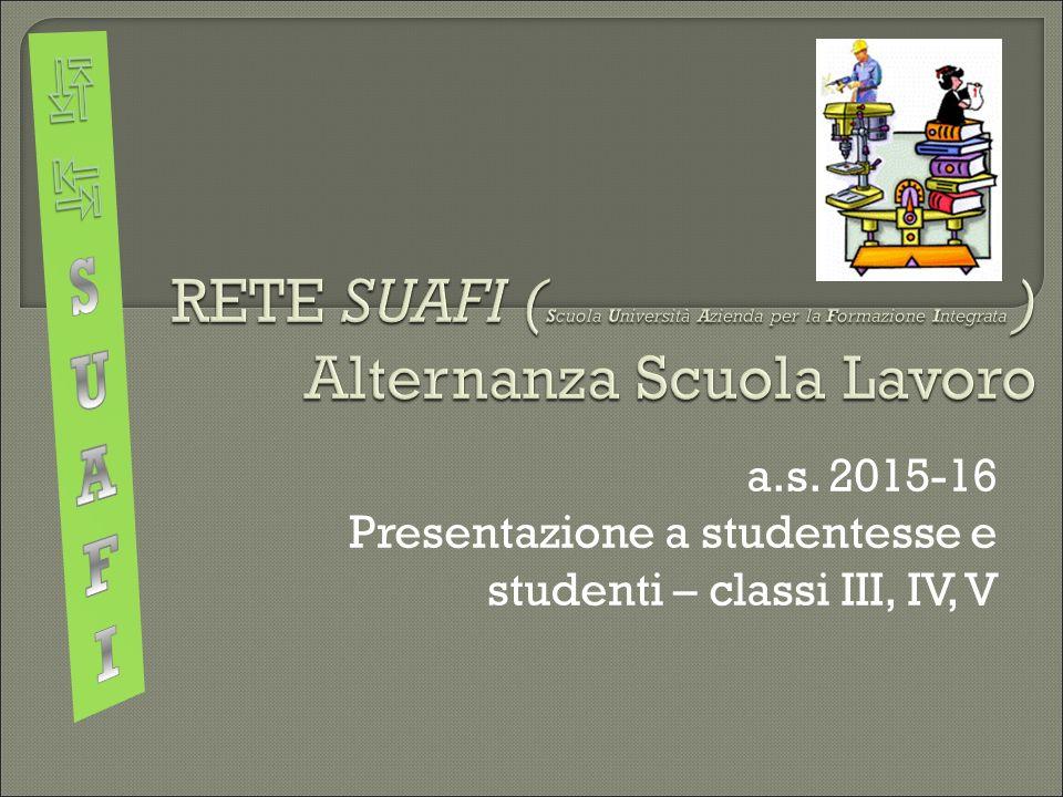 a.s. 2015-16 Presentazione a studentesse e studenti – classi III, IV, V