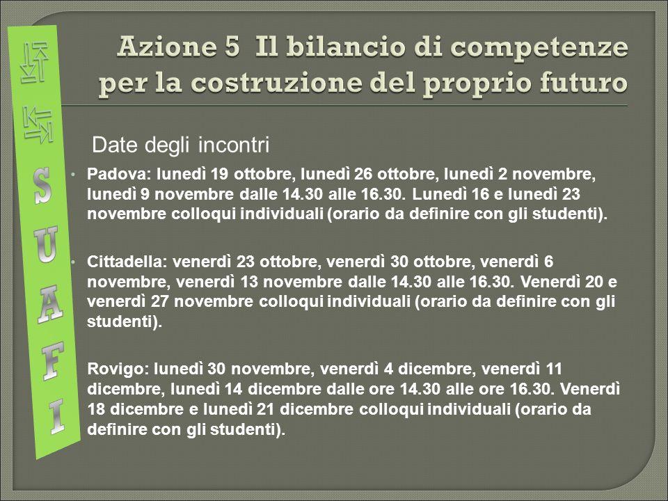  Date degli incontri Padova: lunedì 19 ottobre, lunedì 26 ottobre, lunedì 2 novembre, lunedì 9 novembre dalle 14.30 alle 16.30.