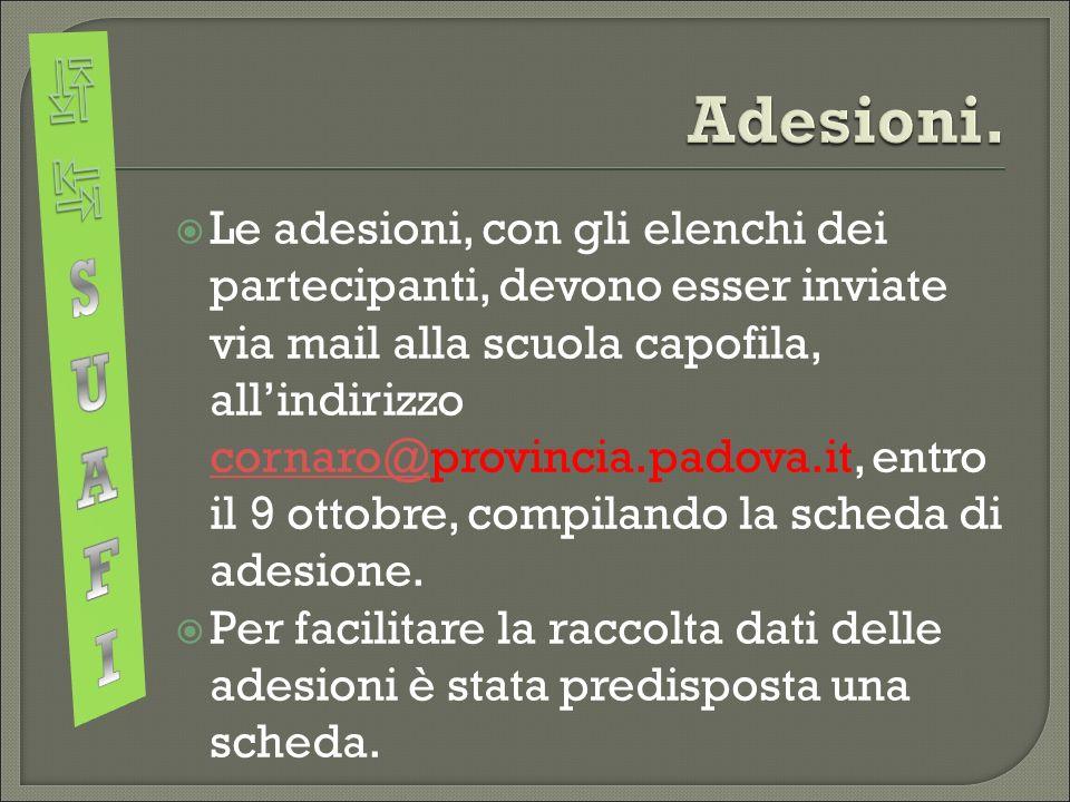  Le adesioni, con gli elenchi dei partecipanti, devono esser inviate via mail alla scuola capofila, all'indirizzo cornaro@provincia.padova.it, entro il 9 ottobre, compilando la scheda di adesione.