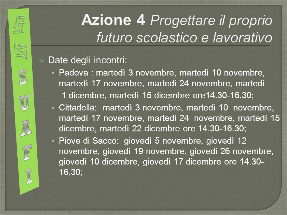  Date degli incontri: Padova : martedì 3 novembre, martedì 10 novembre, martedì 17 novembre, martedì 24 novembre, martedì 1 dicembre, martedì 15 dicembre ore14.30-16.30; Cittadella: martedì 3 novembre, martedì 10 novembre, martedì 17 novembre, martedì 24 novembre, martedì 15 dicembre, martedì 22 dicembre ore 14.30-16.30; Piove di Sacco: giovedì 5 novembre, giovedì 12 novembre, giovedì 19 novembre, giovedì 26 novembre, giovedì 10 dicembre, giovedì 17 dicembre ore 14.30- 16.30 ;