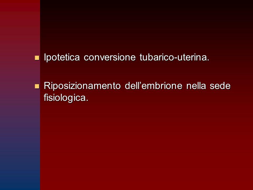 n Ipotetica conversione tubarico-uterina. n Riposizionamento dell'embrione nella sede fisiologica.