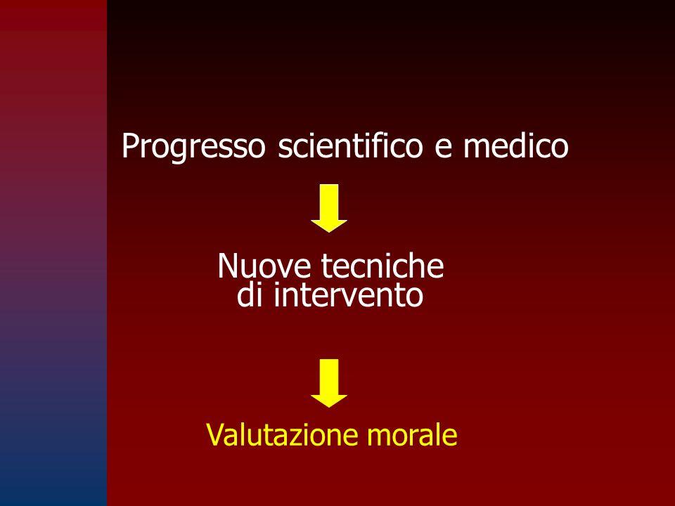 Progresso scientifico e medico Nuove tecniche di intervento Valutazione morale