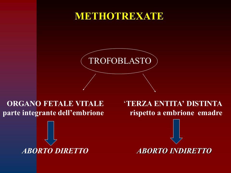 METHOTREXATE TROFOBLASTO ORGANO FETALE VITALE parte integrante dell'embrione 'TERZA ENTITA' DISTINTA rispetto a embrione emadre ABORTO DIRETTO ABORTO