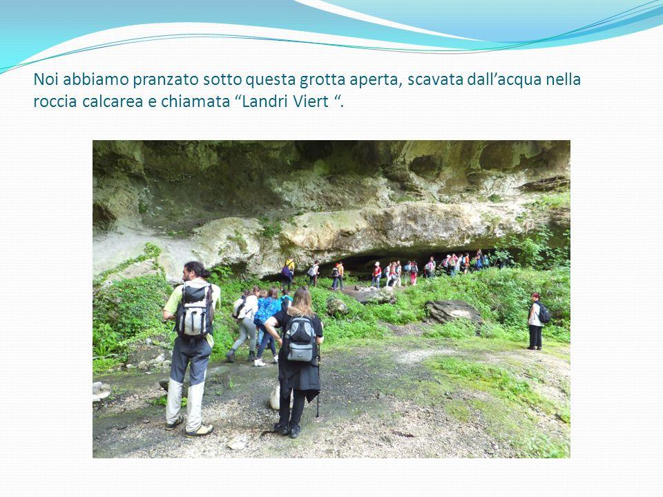 """Noi abbiamo pranzato sotto questa grotta aperta, scavata dall'acqua nella roccia calcarea e chiamata """"Landri Viert """"."""